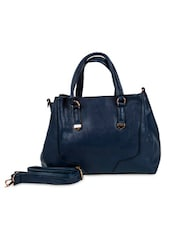 Blue Faux Leather Solids Tote Bag - By