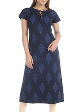 blue denim printed straight kurta -  online shopping for kurtas