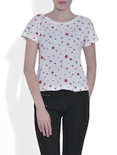 White Cotton Star Print Top - By