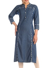 blue denim plain straight kurta -  online shopping for kurtas