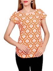 orange printed cotton top -  online shopping for Tops