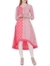 White And Pink Cotton High Low Block Printed Kurta - By