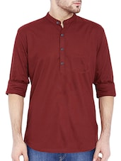 solid maroon cotton kurta -  online shopping for Kurtas