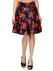 navy blue floral print silk blend pleated skirt -  online shopping for Skirts
