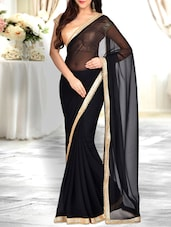 black georgette embellished bordered saree -  online shopping for Sarees