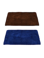 Story@Home Blue & Brown Cotton Blend Set Of 2 Doormat - By