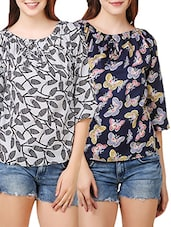 set of 2 multicolored crepe tops -  online shopping for Tops
