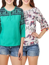 set of 2 multi colored crepe tops -  online shopping for Tops