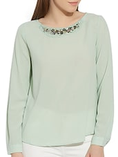 mint green georgette regular top -  online shopping for Tops