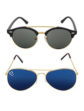 Aventus Sunglasses Combo- Reflective Mirrored Blue Aviator Sunglasses & Round Clubmaster Sunglasses - By