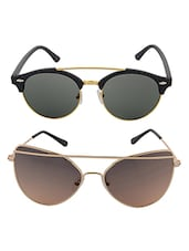 Aventus Sunglasses Combo-   Gold Twin-beam Cateyes Sunglasses & Round Clubmaster Sunglasses - By