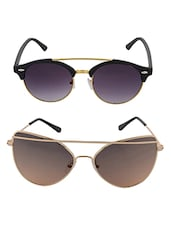 Aventus Sunglasses Combo-   Gold Twin-beam Cateyes Sunglasses & Round Clubmaster Sunglasses -  online shopping for Sunglasses