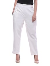 white cotton trouser -  online shopping for Trousers