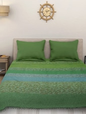 Yarn Dyed Cotton King Size Handloom Green Bed Spread ( Without Pillow Cover ) -  online shopping for bed covers