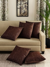 Romee Brown Set Of 5 Cotton Cushion Cover - By