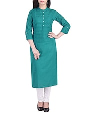 Turquoise Cotton Long Kurta - By