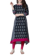 Black And White Cotton Printed High Low Kurta - By
