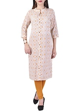 Cream Cotton Block Printed Straight Kurta - By