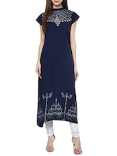 Blue Crepe Printed A-line Kurta - By