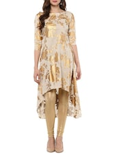 Beige Cotton Block Printed High-low Kurta - By