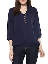blue crepe balloon top -  online shopping for Tops
