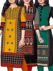 Combos (Set Of 3 ) Multi Colored Cotton Unstitched Kurta -  online shopping for kurtas
