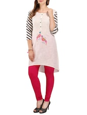 Cream cotton high-low kurta -  online shopping for kurtas