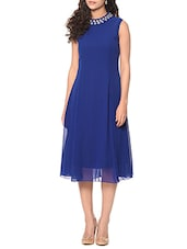 blue poly georgette fit and flare dress -  online shopping for Dresses