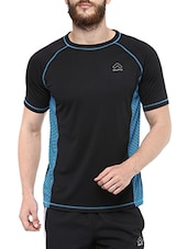 black and blue polyester t-shirt -  online shopping for T-Shirts