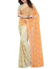orange chiffon embroidered half and half saree -  online shopping for Sarees