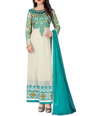 cream georgette anarkali semistitched suit -  online shopping for Semi-Stitched Suits