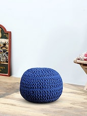 Romee Hand Knitted Blue Cotton Pouf -  online shopping for Poufs & Ottomans