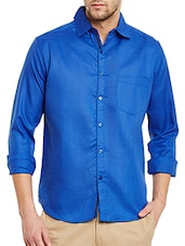 dark blue cotton blend casual shirt -  online shopping for casual shirts