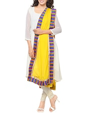 Yellow Chiffon Bordered Dupatta - By