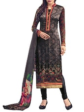 black crepe printed churidaar suit dress material -  online shopping for Dress Material
