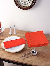 Stitchnest Light Rust Cotton 16 X 16 Inch Solid Table Napkin - Set Of 6 - By