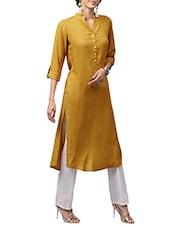 mustard rayon solid straight kurta -  online shopping for kurtas