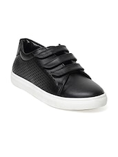 black faux leather sneakers -  online shopping for Sneakers