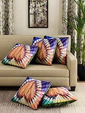 Cortina Multicolor Polyester Set Of 5 Digitally Printed Cushion Covers - By