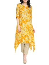 Orange Rayon Printed High-low Kurta - By