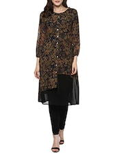 Blue Georgette Printed A-line Kurta - By