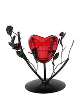 JEWEL FUEL Iron And Glass Heart Tealight Candle Holder Showpiece - By