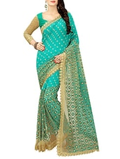 turquoise georgette embroidered saree -  online shopping for Sarees