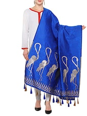 Royal Blue Art Silk Banarasi Dupatta - By