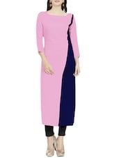 Pink & Blue Crepe Colour Block Long Kurta - By