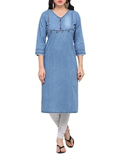 Blue Denim Embroidered Straight Kurta - By