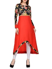 Orange crepe high low kurta -  online shopping for kurtas