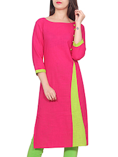 Pink Cotton Colour Block Straight Kurta - By