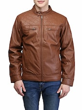 brown leather biker jacket -  online shopping for Biker Jacket
