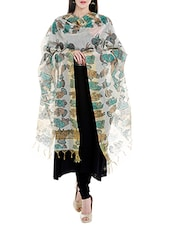 Multi Coloured Cotton Blend Printed Dupatta - By